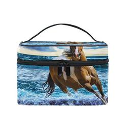 ALIREA Running Horse Cosmetic Bag Travel Makeup Train Cases