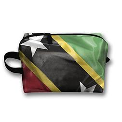 Leisue Saint Kitts And Nevis Flag Cosmetic Bag Zipper Makeup