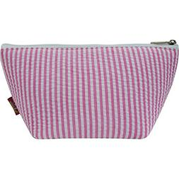 Seersucker Print Cosmetic Bag Toiletry Travel Pouch