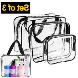 3 Pcs Clear Transparent PVC Travel Cosmetic Make Up Toiletry