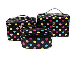 HOYOFO 3Pcs Makeup Bags for Women Polka Dot Travel Cosmetics