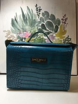 LANCOME Signature Cosmetic Makeup Bag Faux Leather in BLUE N