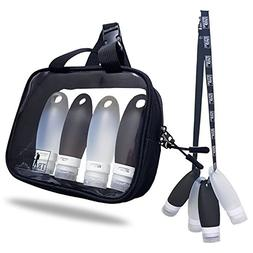 TSA approved Toiletry Bag Squeezable Silicone Travel Bottles