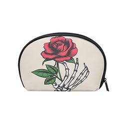 ALAZA Skull Hand Rose Half Moon Cosmetic Makeup Toiletry Bag