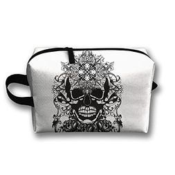 Skull Tattoo Queen Travel Bag Cosmetic Bags Brush Pouch Port