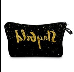 Jom Tokoy Small Cosmetic Make up Bag black and gold print St