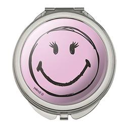 Smiley Smile Happy Girl Eyelashes Pink Face Compact Travel P