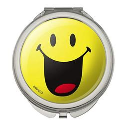 Smiley Smile Happy Mouth Tongue Yellow Face Compact Travel P