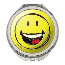 Smiley Smile Happy Sketchy Mouth Tongue Yellow Face Compact