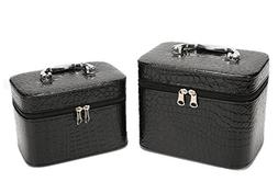 HOYOFO 2-Piece Stone Texture Cosmetic Train Case Set Makeup
