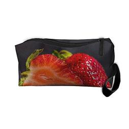 Strawberry Black Travel Makeup Bags For Women Cosmetic Case