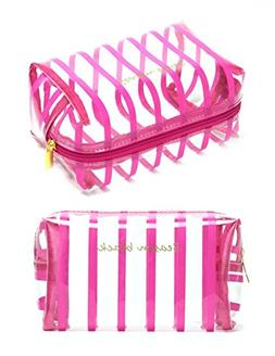 WODISON Womens Striped Beauty Bag Clear Makeup Cosmetic Case