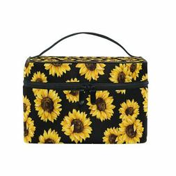 ALIREA Sunflower Pattern Cosmetic Bag Travel Makeup Train Ca