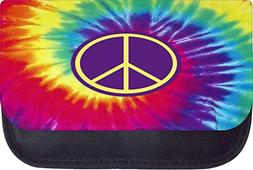 Tie Dye Purple Peace Sign TM Medium Sized Cosmetic Case-Made