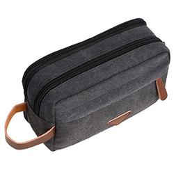 f55dfab48b31 Mens Travel Toiletry Bag Canvas Leather Cosmetic Makeup Orga