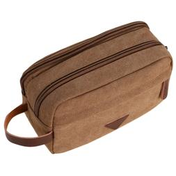 Mens Travel Toiletry Bag Canvas Leather Cosmetic Makeup Orga