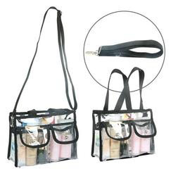 Transparent Makeup Tote Bag Cosmetic Toiletry Bags w/ 2 Outs