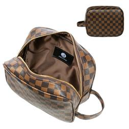 Luxouria Travel Checkered Makeup Bag for Women, Luxury Cosme