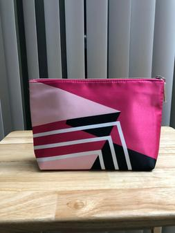 Travel Size Cosmetic Makeup Bag Stripe Pattern With Zipper