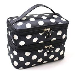 Lemoncy 2 Layer Traveling Makeup Bag Small Dot Pattern With