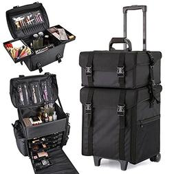 JAXPETY Pro 2 in 1 Trolley Cosmetic Case Makeup Bag Box Roll