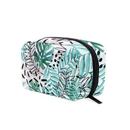 ALAZA Tropical Plant Monstera Cosmetic Bag Black Zipper Stor