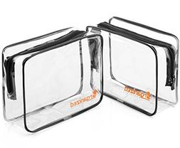 TSA Approved Toiletry Bag - 2 Clear Travel Makeup Bags for C