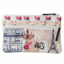 Pinaken Two Zipper Pouch Purse Bag Organizer Travel Small an