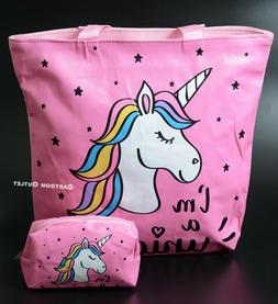 UNICORN TOTE BAG PURSE TOTE LARGE WITH COSMETIC PINK BAG TRA