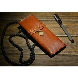 us leather vintage style pu rollup pencil