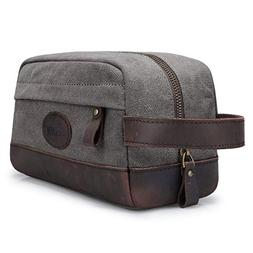 S-ZONE Vintage Leather Canvas Men Toiletry Bag Shaving Dopp