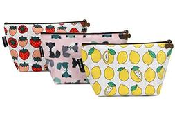 Sea Team 3pcs Waterproof Fabric Cosmetic Bags Portable Trave