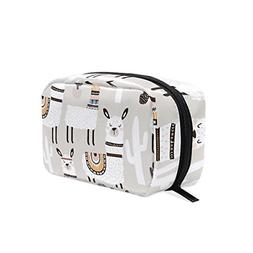 ALAZA White Llama Cosmetic Bag Black Zipper Storage Bag Port