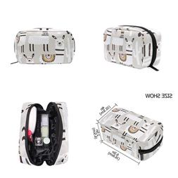 ALAZA WHITE Llama Cosmetic Bag BLACK Zipper Storage Portable