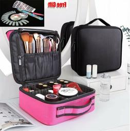 Makeup Train Case Cosmetic Travel Dividers Bag Backpack Stor