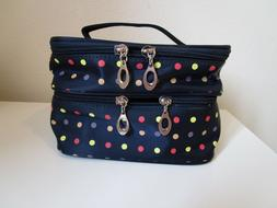WOMEN'S DOUBLE DECK MAKEUP BAG ~ NAVY BLUE WITH COLORED DOTS