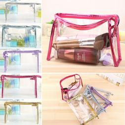 Women's Girls Clear Travel Makeup Cosmetic Toiletry Bags Tra