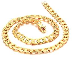 SOPO 18k Yellow Gold Plated Men Necklace Figaro Link Chain M