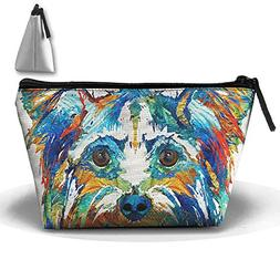 Bxsnd Art Yorkies Dog Makeup Bag Cute Cosmetic Bag Small Toi