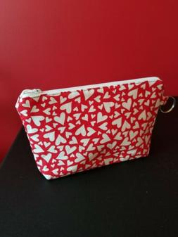 Handmade Zipper Pouch/Cosmetic/Makeup Bag with Hearts