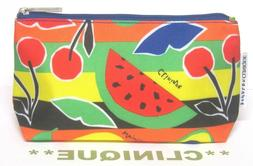 CLINIQUE Zippered Makeup / Cosmetic Bag in a FRUITS Design b