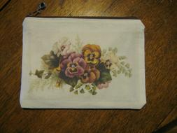 Handmade Zippered Pouch Cosmetic Bag Vintage Pansies Flower